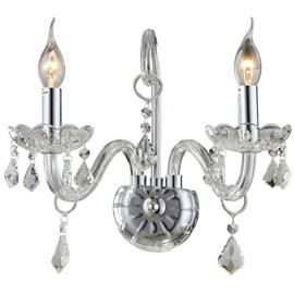 Arandela Maria Thereza Cristal Transparente 2 Lâmpadas Arquitetizze