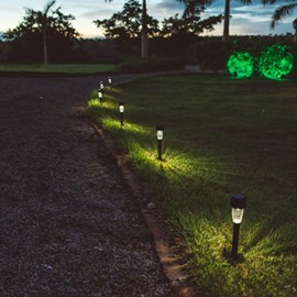 Balizador de Jardim LED Energia Solar Compacto Luz Branca IP54 Preto Ecoforce