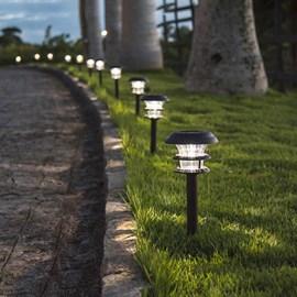 Balizador de Jardim LED Energia Solar Superled Luz Branca IP54 Preto Ecoforce