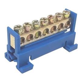 Barramento Neutro 7 Furos Base Azul Para Trilho Enerbras