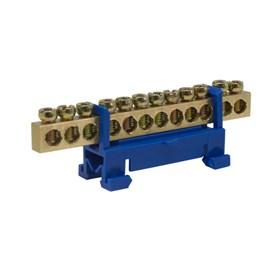 Barramento para Trilho DIN 12 Ligações Neutro com Base Azul Rohdina