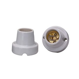 Bocal Adaptador E27 Porcelana Fixo para Teto Decorlux
