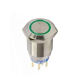 Botão Antivandalismo Iluminado 19mm 2Rev 220VCA Alternado Luz Verde Metaltex