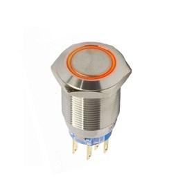 Botão Antivandalismo Iluminado 19mm 2Rev 220VCA Alternado Luz Vermelha Metaltex