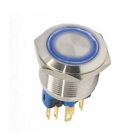 Botão Antivandalismo Iluminado 22mm 110/220VCA Momentâneo Luz Azul Metaltex
