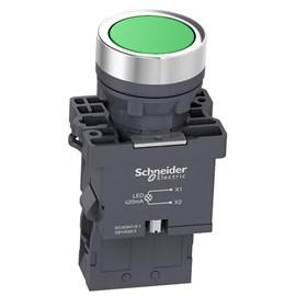 Botão de Impulsão Iluminado 22mm 1NA XA2EW33M1 Verde Schneider
