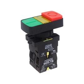 Botão Duplo Pulsador Iluminado 22mm 1NA+1NF P20IDL-Y7-1C Metaltex