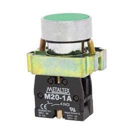 Botão Pulsador Verde 1NA M20BFR-G-1A Metaltex