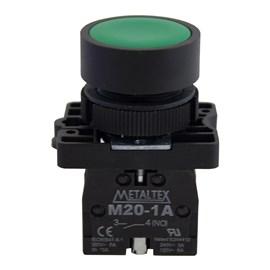 Botão Pulsador Verde 1NA Metaltex