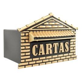 Caixa de Correio Preto/Ouro 4P Real Caixas de Correio