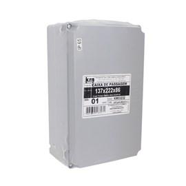 Caixa de Passagem 137x222x86mm Cinza Termoplástico IP-65 Kraus Muller