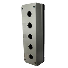 Caixa Plástica TN2-B5 5 Furos para Botão 22mm Cinza Metaltex