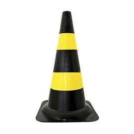 Cone de Sinalização 50cm Amarelo e Preto Plastcor