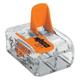 Conector Automático Bipolar 221-412 Transparente 100 Peças Wago