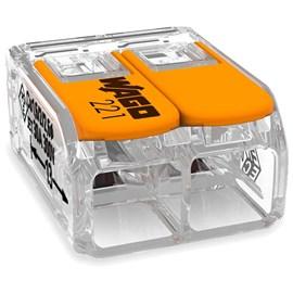 Conector Automático Bipolar 221-612 Transparente 3 Peças Wago