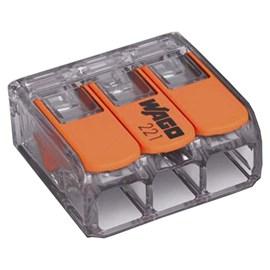 Conector Automático Tripolar 221-413 Transparente 50 Peças Wago