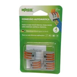 Conector Automático Tripolar 222-413 Cinza 4 Peças Wago