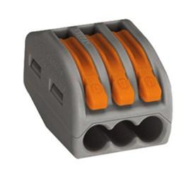 Conector Automático Tripolar 222-413 Cinza 50 Peças Wago