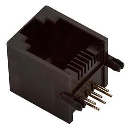 Conector RJ-11 Fêmea Para CI 6 Vias Jack Metaltex