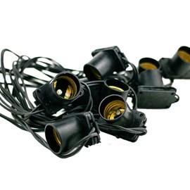 Cordão de Luz 20 Lâmpadas E27 10 Metros Preto Bivolt Starlux
