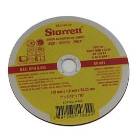 Disco Corte Aço Inox 178 X 1,6 X 22.23mm Starrett
