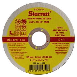 Disco de Corte Aço Inox 115mm Starret