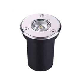 Embutido de Solo LED 6W Inox Cromado Redondo Luz Branco Quente Bivolt Luminatti