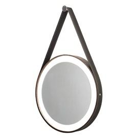 Espelho LED Redondo Madeira e Couro Preto 55cm Formacril