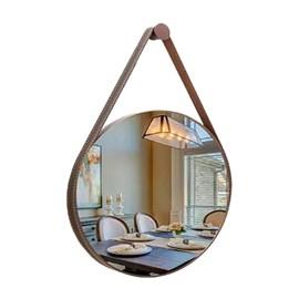 Espelho Redondo Couro Cafe 62cm Garbo