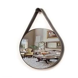 Espelho Redondo Couro Preto 72cm Garbo