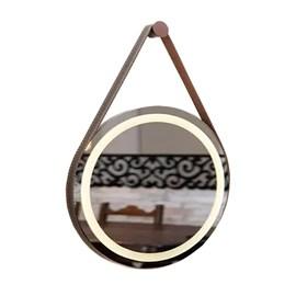 Espelho Redondo LED Couro Cafe 62cm 21,6w 1800lm Biv Garbo