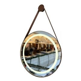 Espelho Redondo LED Couro Caramelo 62cm 21,6w 1800lm Biv Garbo