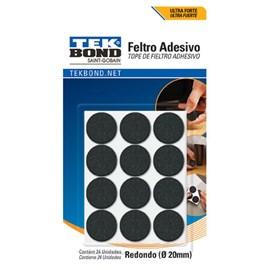 Feltro Adesivo Redondo 20mm Preto Tek Bond