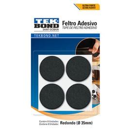 Feltro Adesivo Redondo 35mm Preto Tek Bond