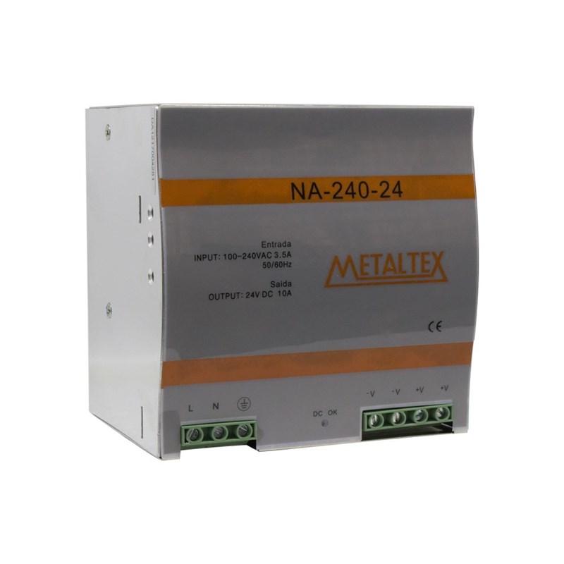 Fonte Chaveada 24VCC 10A NA-240-24 240W 110/220VCA para Trilho DIN Metaltex