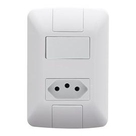 Interruptor Aria 1 Tecla Simples e Tomada 20A 4x2 com Placa Branco Tramontina