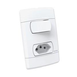 Interruptor Neo Sottile Simples 10A 4x2 1 Tecla e Tomada Branco Enerbras
