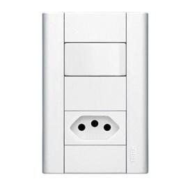 Interruptor Paralelo 20A 4X2 1 Tecla e Tomada Branco Modulare Fame