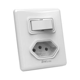 Interruptor Simples 10A 1 Tecla e Tomada Branco Linha E SX Enerbras