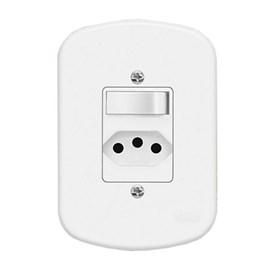 Interruptor Simples 10A 4X2 1 Tecla e Tomada Branco Blanc Fame
