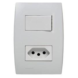 Interruptor Simples 10A 4X2 1 Tecla e Tomada Branco Ilus Iriel