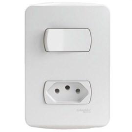 Interruptor Simples 10A 4X2 1 Tecla e Tomada Branco Miluz Schneider