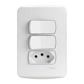 Interruptor Simples 10A 4x2 2 Teclas e Tomada Branco Miluz Schneider