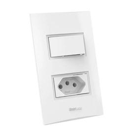 Interruptor Simples 20A 4X2 1 Tecla e Tomada Branco Beleze Enerbras