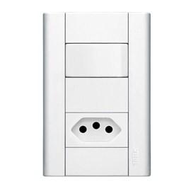 Interruptor Simples 20A 4X2 1 Tecla e Tomada Branco Modulare Fame