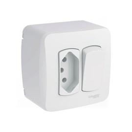 Interruptor Simples e Tomada de Sobrepor 10A Branco Dexson Miluz Schneider