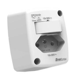 Interruptor Simples e Tomada de Sobrepor 10A Branco Standard Enerbras