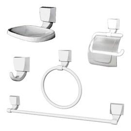 Kit Acessórios Banheiro Quadra 05 Peças Branco Lorenzetti