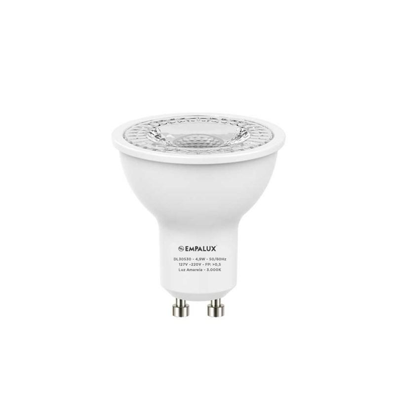 Lâmpada Dicróica LED 4,9W Luz Branco Quente Bivolt GU10 Empalux
