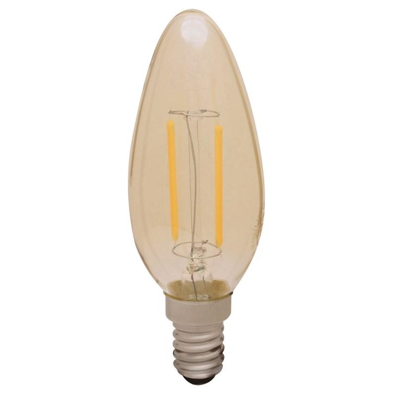 Lâmpada Vela Filamento LED 2W Luz Branco Quente E14 Empalux